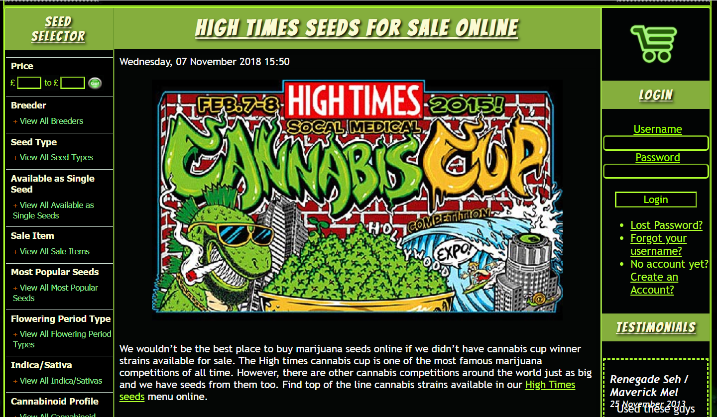cannabis cup strain seeds for sale