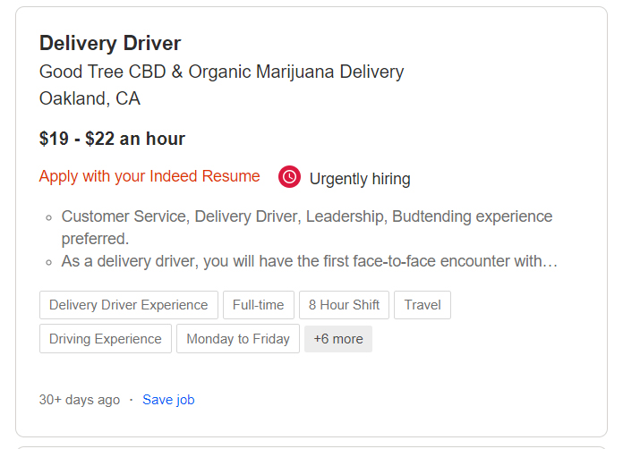 cannabis delivery driver jobs
