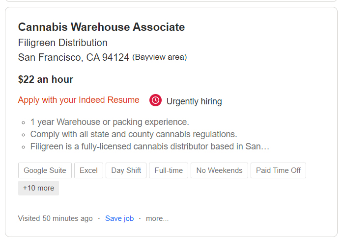 cannabis warehouse job